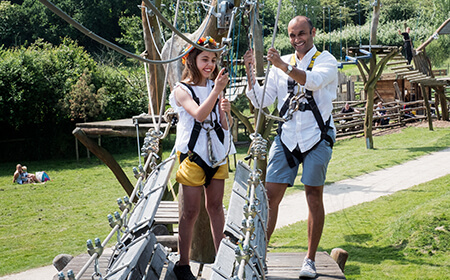 Dad and Daughter on the High Ropes